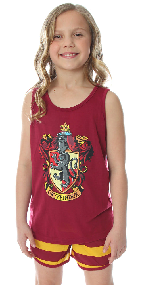 Harry Potter Big Girls' Hogwarts House Crest Racerback Tank and Shorts Pajama Lounge Set