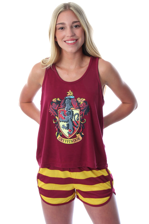 Harry Potter Women's Hogwarts House Crest Racerback Tank and Shorts Pajama Lounge Set