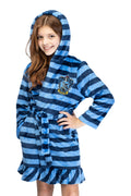 Harry Potter Girls' Striped Ruffle Plush Fleece Robe - All 4 Houses Gryffindor, Hufflepuff, Slytherin, Ravenclaw