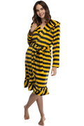 Harry Potter Juniors' Striped Hooded Plush Fleece Robe - All 4 Houses Gryffindor, Hufflepuff, Slytherin, Ravenclaw