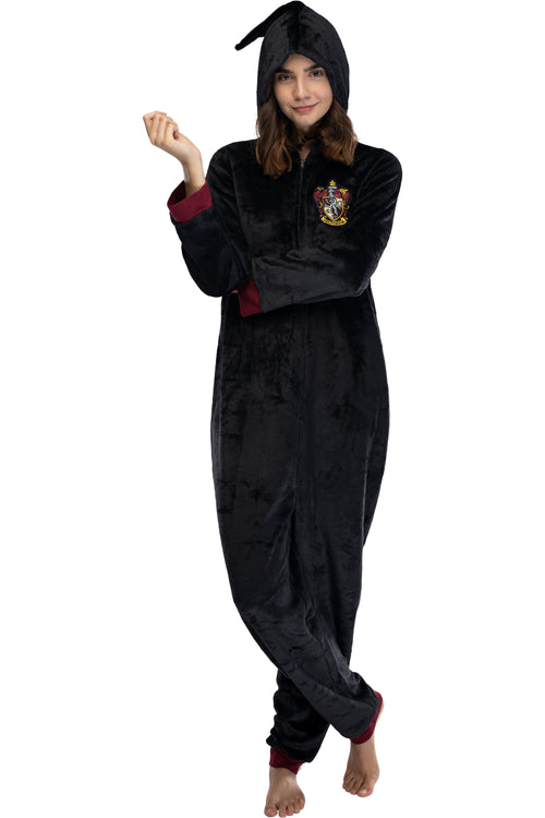 Harry Potter Juniors' Hooded One-Piece Pajama Union Suit - All 4 Houses Gryffindor, Slytherin, Ravenclaw, Hufflepuff