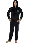 Harry Potter Men's Hooded One-Piece Pajama Union Suit - All 4 Houses Gryffindor, Slytherin, Ravenclaw, Hufflepuff