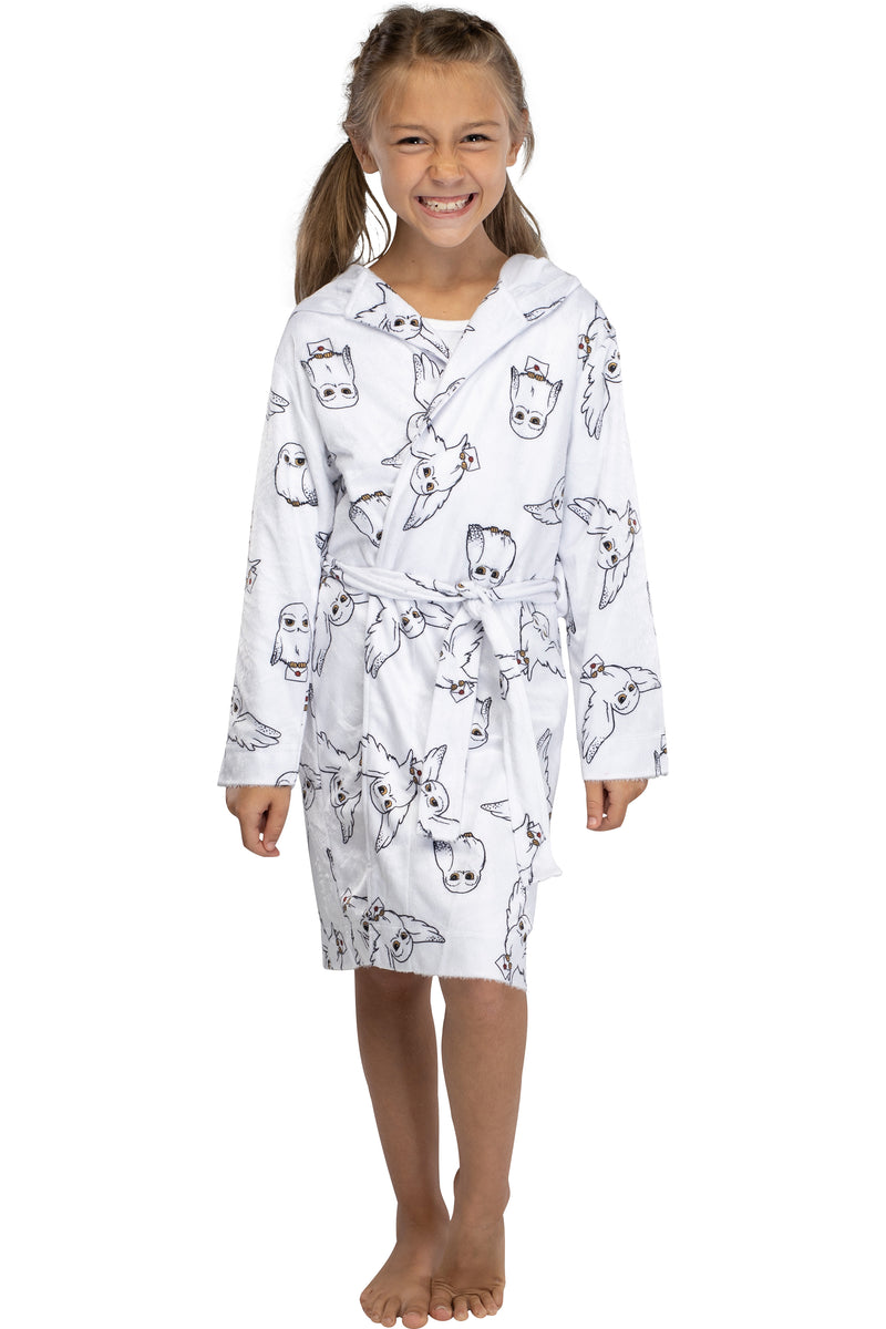 Harry Potter Girls Hedwig Owl Robe Minky Soft Plush Coverup