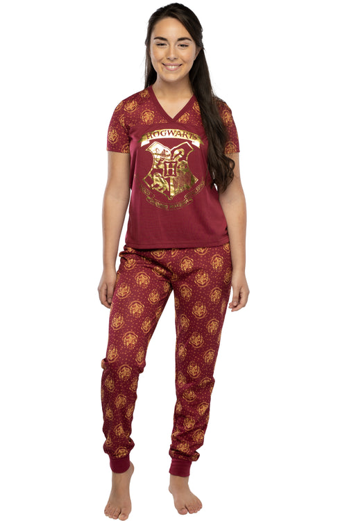 Harry Potter Short Sleeve Hogwarts Junior's Jogger PJ Pajama Set
