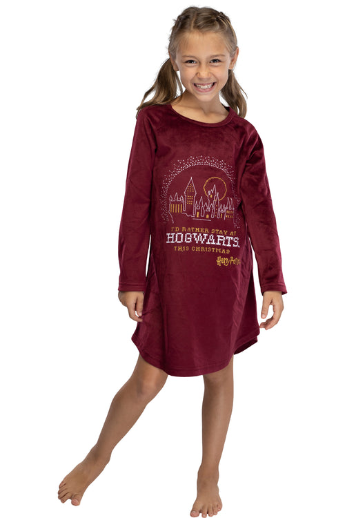 Harry Potter Nightgown I'd Rather Stay At Hogwarts This Christmas Girl's Pajamas