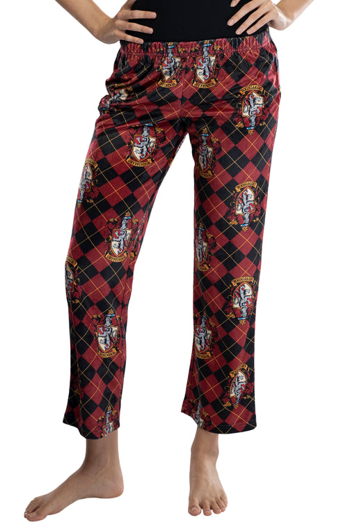 Harry Potter Juniors Hogwarts Houses Crest Cropped Lounge Pants Pajamas