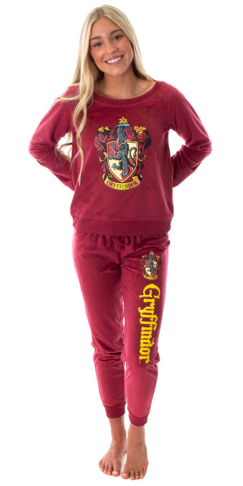 Harry Potter Juniors' Hogwart Castle House Crest Fleece Jogger Pajama Set - All 4 Houses Available