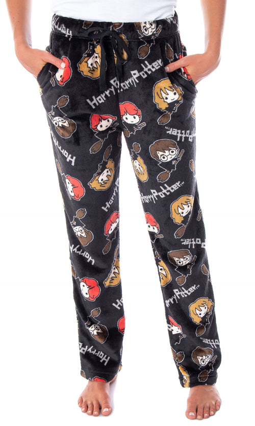 Harry Potter Juniors' Allover Chibi Characters Minky Plush Fleece Lounge Sleep Pajama Pants