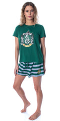 Harry Potter Women's Hogwarts Castle Shirt and Shorts Sleepwear Pajama Set  - All 4 Houses Available