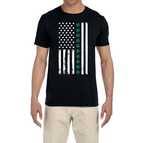St. Patrick's Day Men's Shirt Shamrock American Flag Saint Paddy's Fun Irish T-Shirt Tee