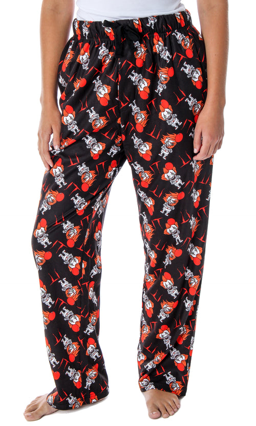 IT The Movie Women's Pennywise Clown Character Allover Pattern Lounge Sleep Pajama Pants