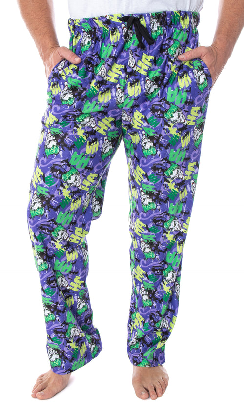 DC Comics Men's The Joker Character Faces HA! HA! HA! Allover Pattern Adult Sleep Lounge Pajama Pants