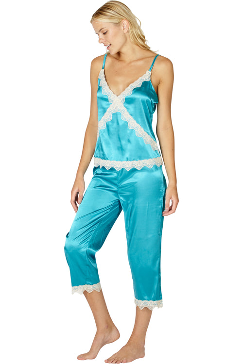 Intimo Womens Stretch Charmeuse Sleep Cami Top with Cropped Pant Set