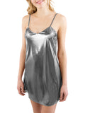 INTIMO Women's Liquid Metallic Chemise Thong Set