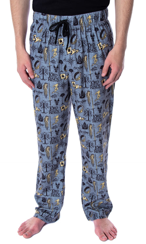 Lord of the Rings Men's Allover Pattern Adult Sleepwear Lounge Bottoms Pajama Pants