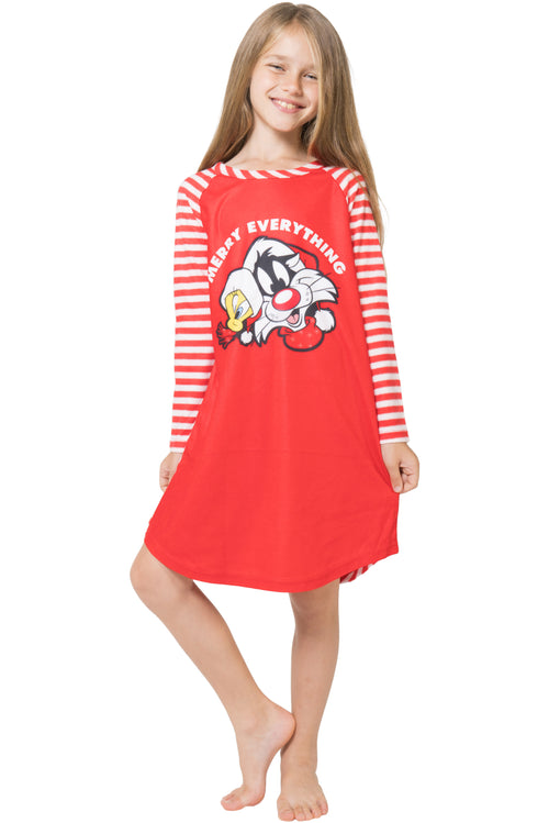 Looney Tunes Girls Christmas Pajamas with Tweety Bird and Sylvester Cat Merry Everything Raglan