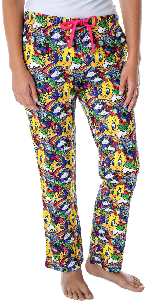 Looney Tunes Women's Tweety Bird Vivid Color Pattern Velvety Soft Sleep Lounge Pajama Pants