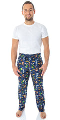 Looney Tunes Men's Daffy Duck Bugs Bunny Taz Marvin Martian Allover Toss Print Lounge Sleep Pajama Pants