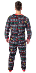 Marvel Adult Unisex Superhero Trio Ugly Sweater Allover Print One Piece Pajama Union Suit