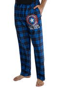 Marvel Mens' Captain America Shield Logo Plaid Pajama Lounge Pants