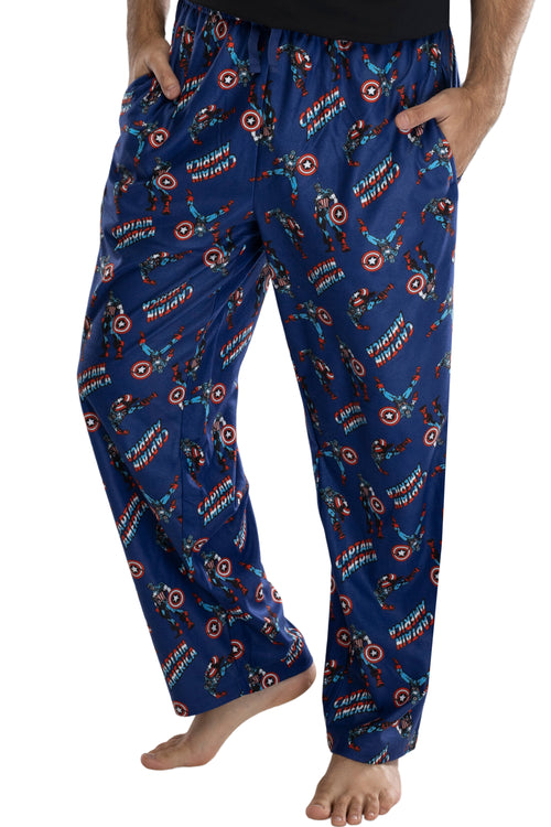 Marvel Men's Captain America Retro Allover Print Loungewear Pajama Pants