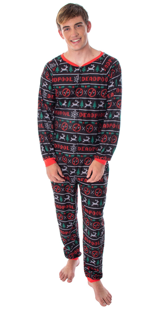 Adult Men's Deadpool Onesie Pajama Holiday Themed Union Suit One-Piece Christmas PJ Outfit