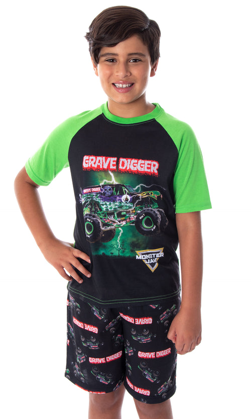 Monster Jam Boys' Grave Digger Monster Truck Shirt And Shorts 2 Piece Pajama Set