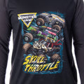 Monster Jam Pajamas Men's Skull Throttle Monster Truck Raglan Shirt And Pants 2 Piece Lounge Sleepwear Pajama Set