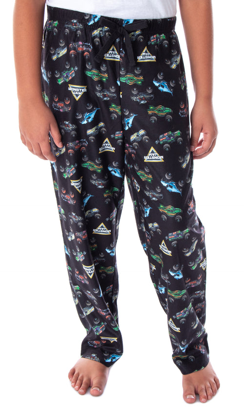 Monster Jam Boys' Monster Truck Allover Pattern Kids Lounge Sleep Pajama Pants