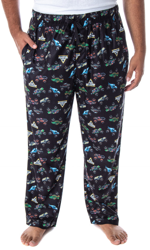 Monster Jam Adult Men's Monster Truck Allover Pattern Kids Lounge Sleep Pajama Pants