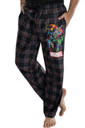 Marvel Comics Men's Vintage Distressed Avengers Plaid Lounge Pants Sleepwear Pajama Pants