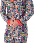 Marvel Unisex Men's Women's Adult Allover Comic Characters Grid Print One Piece Pajama Union Suit