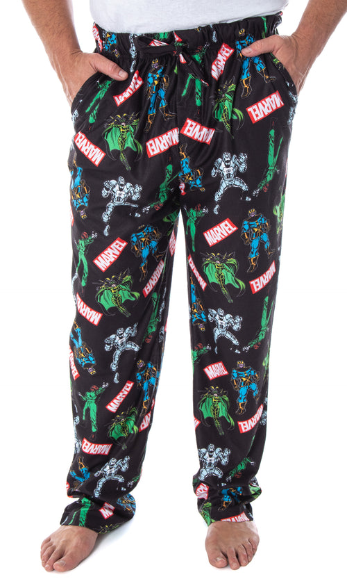 Marvel Men's' Vintage Comic Villains Thanos Red Skull Hela Ultron Allover Pattern Lounge Sleep Pajama Pants
