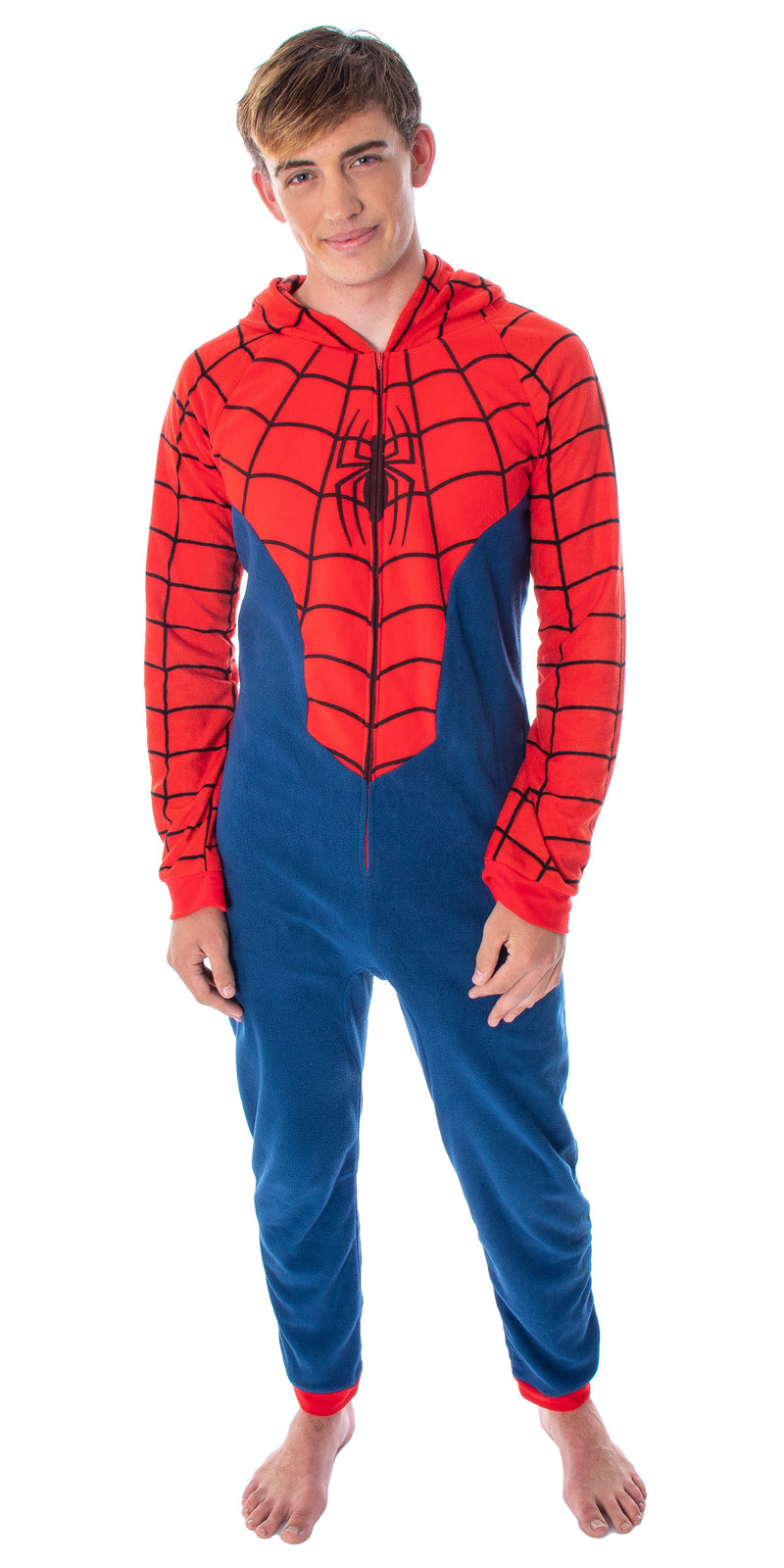 Marvel Comics Men's Classic Spiderman Costume Pajama Union Suit One-Piece Loungewear PJ Outfit