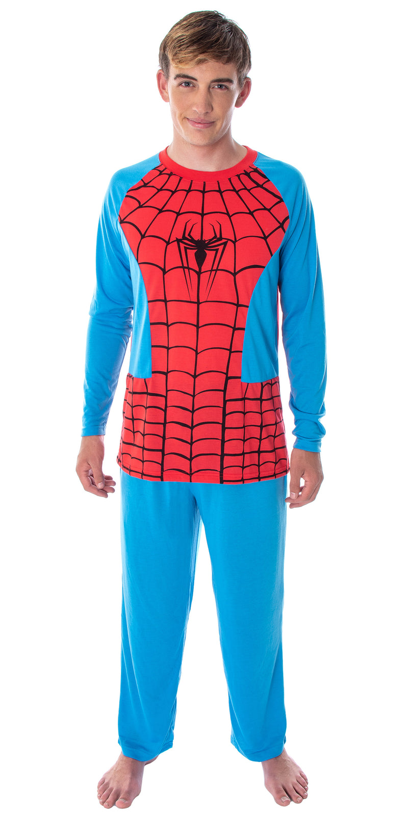 Marvel Men's Spiderman Classic Superhero Costume Raglan Shirt And Pants 2 Piece Pajama Set