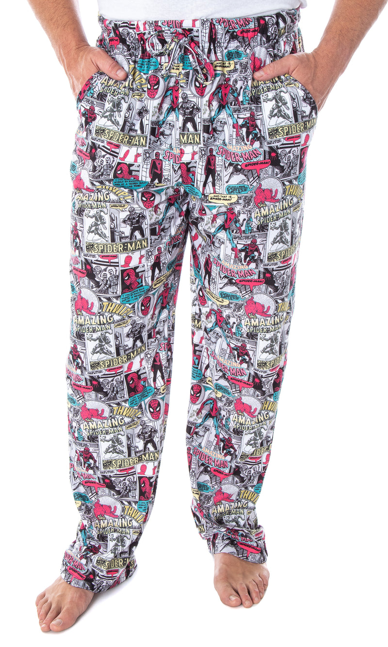 Marvel Men's Spiderman Vintage Comic Book Amazing Spider-Man Adult Sleep Lounge Pajama Pants
