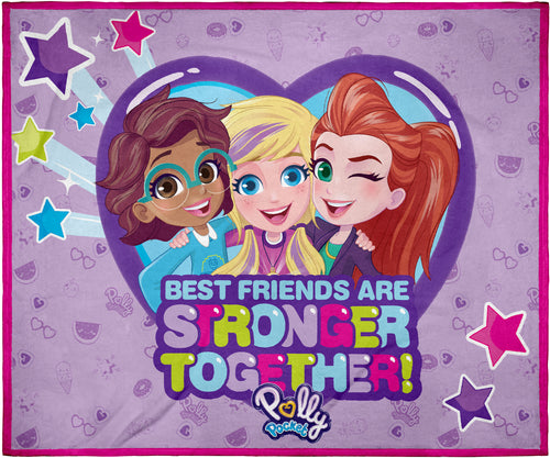 "Polly Pocket Toys Best Friends Super Soft And Cuddly Plush Fleece Throw Blanket 50"" x 60"" (127cm x152cm)"
