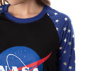 NASA Meatball Logo Women's Juniors' Silver Stars Raglan Nightgown Sleep Shirt Pajama Top