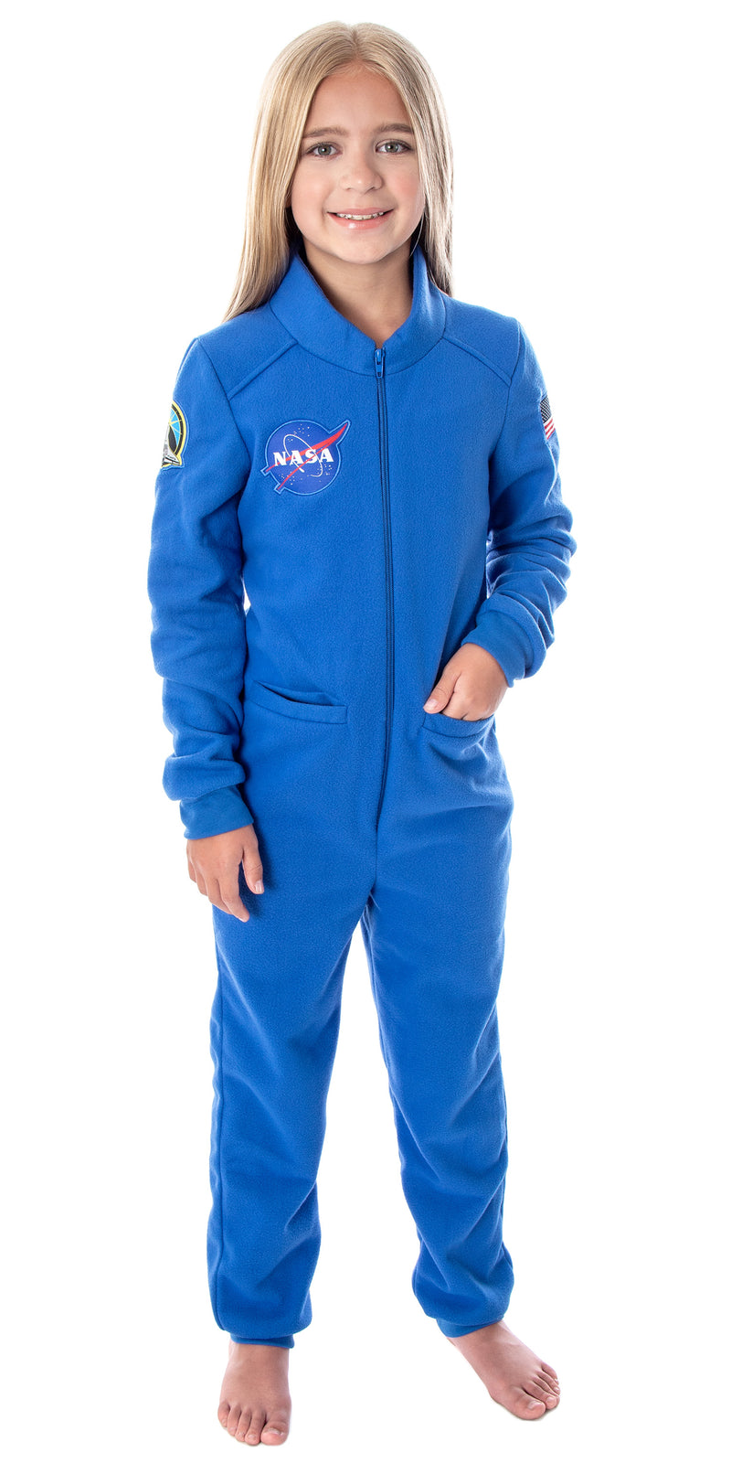 NASA Girls' Meatball Logo Space Suit Astronaut Costume One Piece Pajama Union Suit