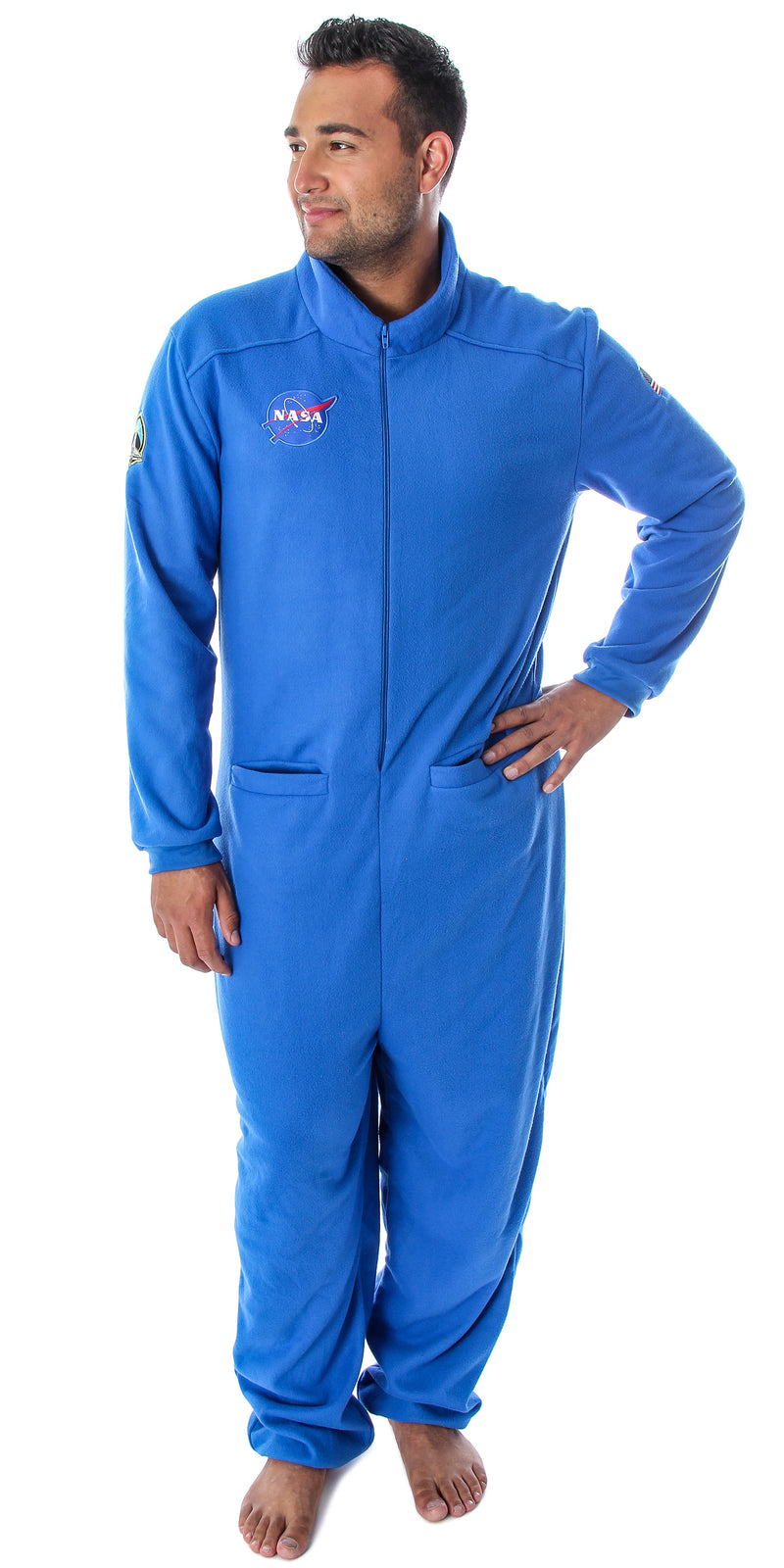 NASA Men's Meatball Logo Space Shuttle Astronaut Costume Patch One Piece Fleece Pajama Union Suit