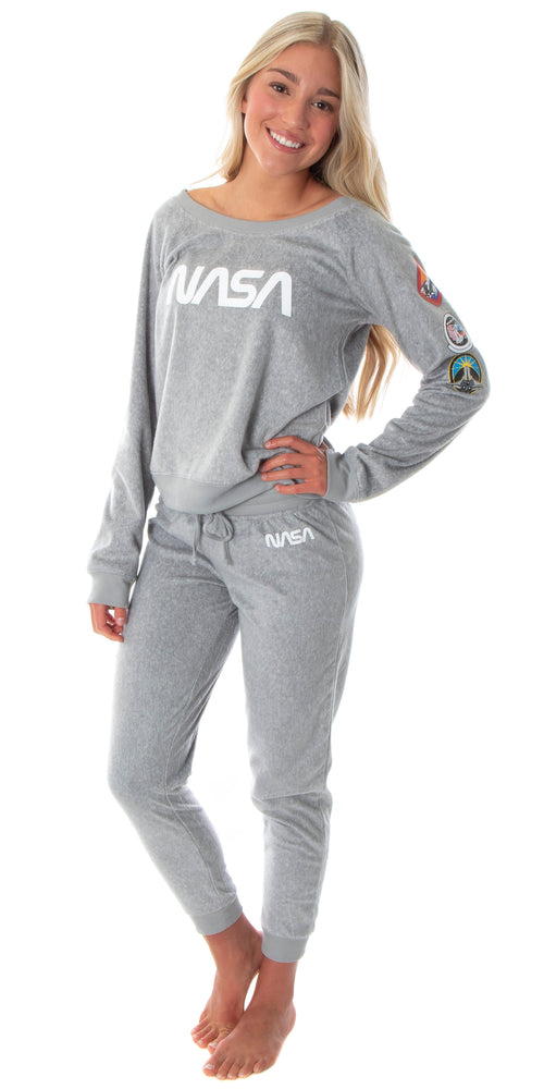 NASA Worm Logo Women's Juniors' Space Shuttle Patches Shirt And Jogger Pants Pajama Set