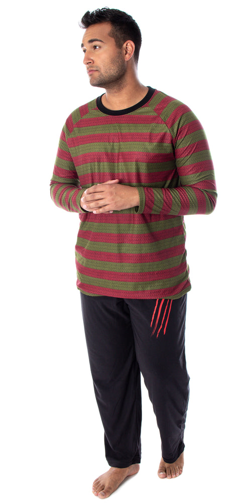 Nightmare On Elm Street Men's Freddy Krueger Costume Sweater Pattern Shirt And Pants Pajama Set