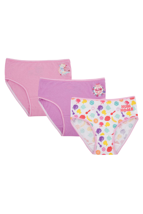 Girls Num Noms Snackables Silly Shakes Underwear Briefs 3 pack