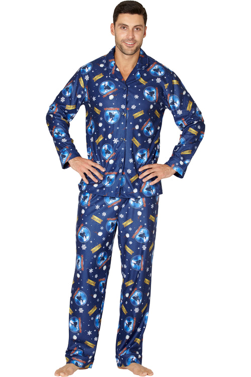 The Polar Express Adult Believe Button-Front Coat Shirt And Pants Pajama Set