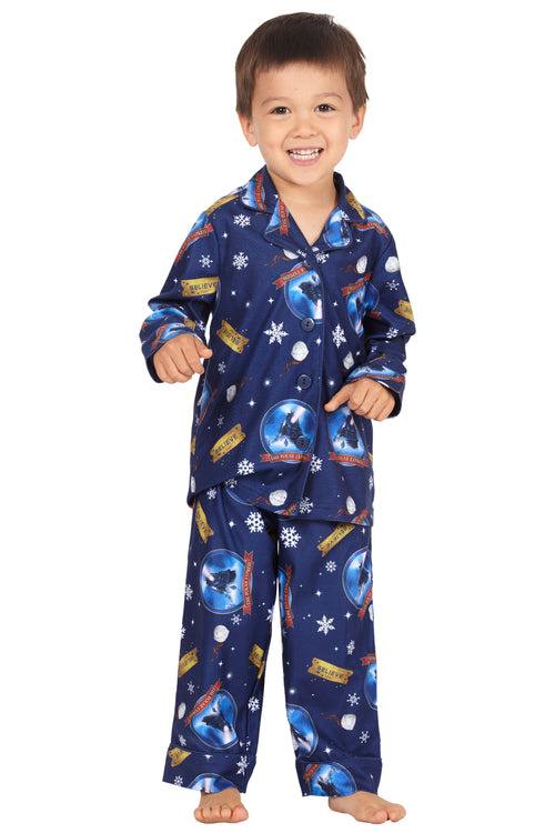 The Polar Express Toddler Believe Button-Front Coat Shirt And Pants Pajama Set