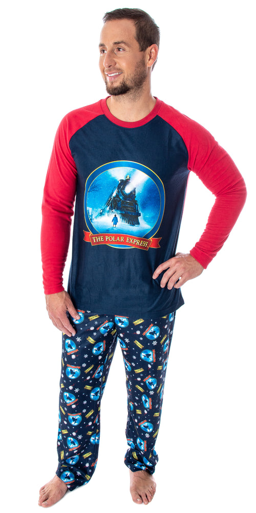 The Polar Express Train Men's Raglan Shirt And Pants 2 Piece Sleep Lounge Pajama Set