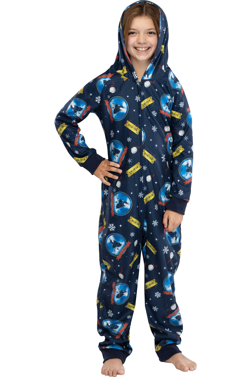 Polar Express Big Kids Believe Hooded One-Piece Footless Sleeper Union Suit