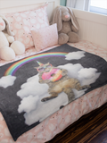 "Galactic Rainbow Uni-Kitty Blanket Super Soft Silk Touch Plush Fleece Throw 50"" X 60"""