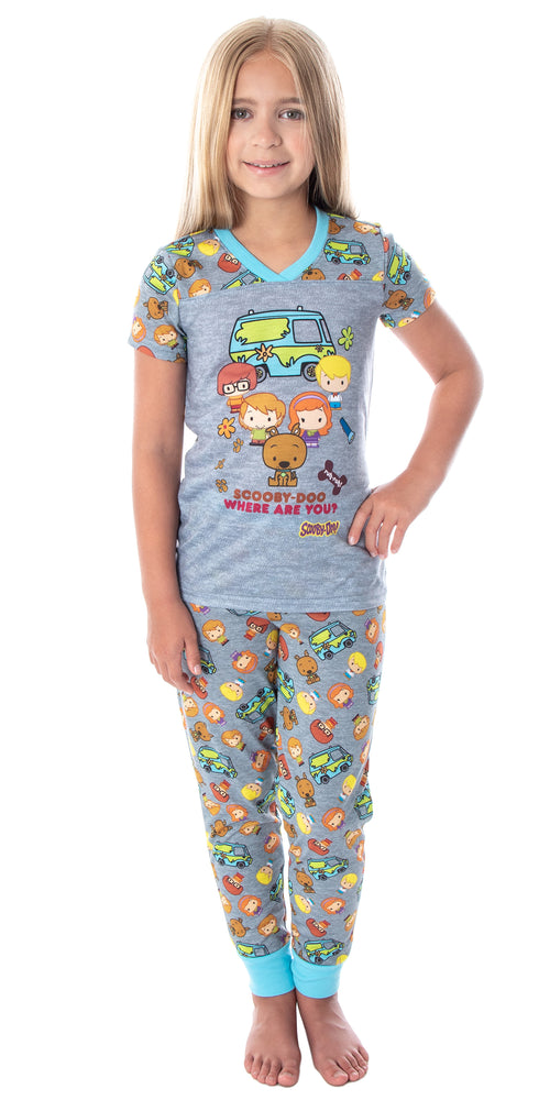 Scooby-Doo Girls' Pajamas Chibi Characters Mystery Machine Shirt And Pants Kids Pjs Pajama Set