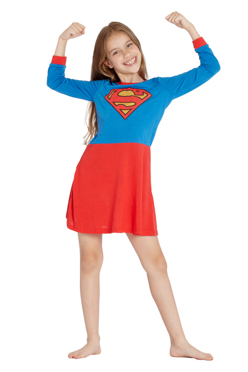DC Comics 'Superman Supergirl Logo' Costume Toddler & Girls Pajama Gown